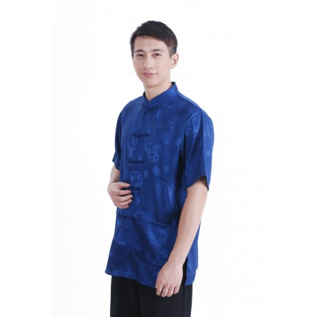 Asia Shirt Herren blau Glanz Dragon